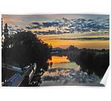 Sunset from the Bridge at Upton-on-Severn Poster
