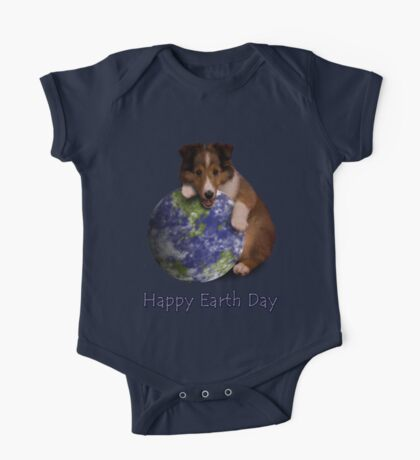 Happy Earth Day Sheltie One Piece - Short Sleeve