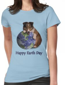 Happy Earth Day Sheltie Womens Fitted T-Shirt