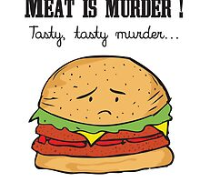 Meat is murder, tasty, tasty murder ! Sad Hamburger by alish