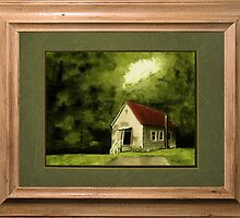 Country Church, version 1 ... with a rice paper impression, in a matted and framed look by © Bob Hall