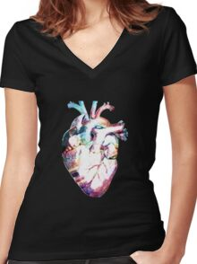Anatomy - Heart Watercolor Women's Fitted V-Neck T-Shirt