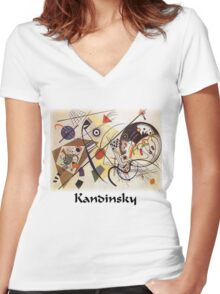 Kandinsky - Transverse Lines Women's Fitted V-Neck T-Shirt