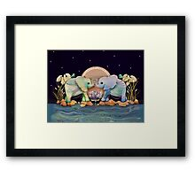 Lotus Flower Elephants of the Rainbow Framed Print