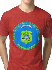 Wisconsin Minimal Blue Green | State Seal | SteezeFactory.com Tri-blend T-Shirt