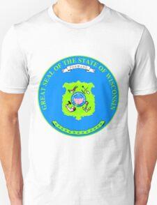 Wisconsin Minimal Blue Green | State Seal | SteezeFactory.com Unisex T-Shirt