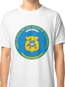 Wisconsin Minimal | State Seal | SteezeFactory.com Classic T-Shirt