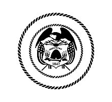 Utah Black White   State Seal   SteezeFactory.com Photographic Print