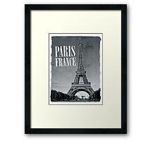 vintage eiffel tower black and white Framed Print