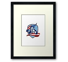 American Patriot Football Quarterback Shield Framed Print