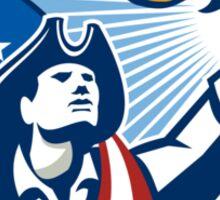 American Patriot Holding Torch Stars Stripes Flag Sticker