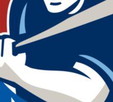 Baseball Hitter Batting Stars Stripes Retro Sticker