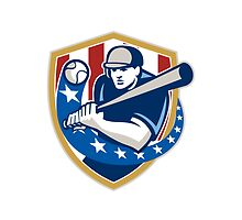 Baseball Hitter Batting Stars Stripes Retro by patrimonio