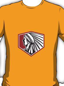 Native American Indian Warrior Side Retro T-Shirt