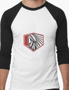 Native American Indian Warrior Side Retro Men's Baseball ¾ T-Shirt