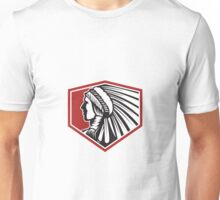 Native American Indian Warrior Side Retro Unisex T-Shirt