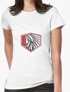 Native American Indian Warrior Side Retro Womens Fitted T-Shirt