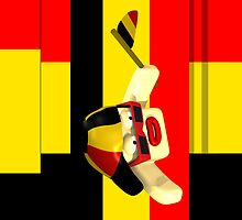 Sports Supporter Red Black Yellow by Peter Grayson
