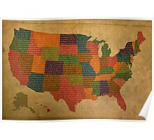 Declaration of Independence Word Art on USA Map Fifty States Poster