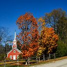 Little Red Church in Fall by Julie Everhart