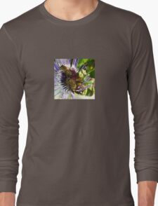 Passion Flower and Honey Bees Collecting Pollen Long Sleeve T-Shirt