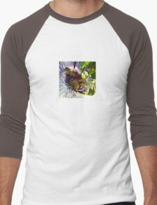 Passion Flower and Honey Bees Collecting Pollen Men's Baseball ¾ T-Shirt