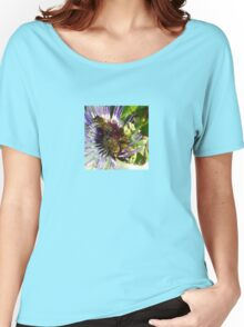 Passion Flower and Honey Bees Collecting Pollen Women's Relaxed Fit T-Shirt