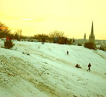 Sledging on St. James' Hill, Norwich, England by Joanna Rice