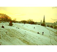 Sledging on St. James' Hill, Norwich, England Photographic Print