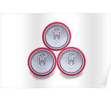 three aluminum drink cans shadow Poster