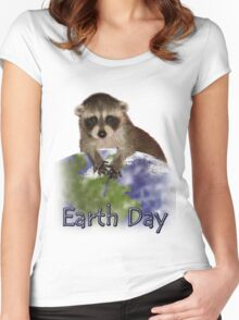 Earth Day Raccoon Women's Fitted Scoop T-Shirt