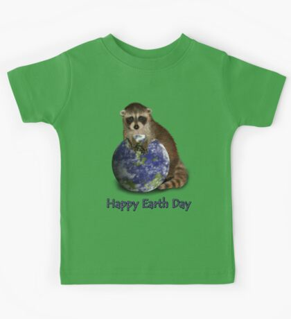 Happy Earth Day Raccoon Kids Tee