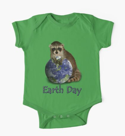 Earth Day Raccoon One Piece - Short Sleeve