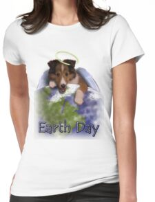 Earth Day Angel Sheltie Womens Fitted T-Shirt