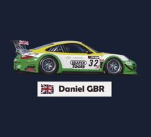 """Daniel"" Green-Yellow Race Car - Kid's T-shirt Kids Tee"