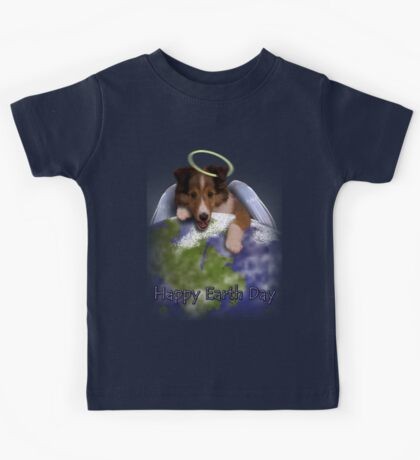 Happy Earth Day Angel Sheltie Kids Tee