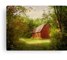 Red Barn in The Woods Canvas Print