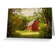 Red Barn in The Woods Greeting Card