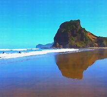 Iconic Lion Rock reflected on famous Piha Beach, Auckland by totes4travel