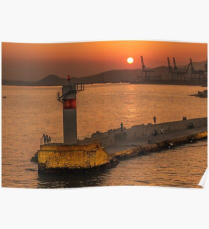 A sunset in Piraeus, the port of Athens. Poster