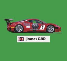 """James"" Red Italian Race Car - Kid's T-Shirt Baby Tee"