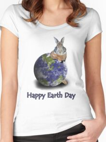 Happy Earth Day Bunny Rabbit Women's Fitted Scoop T-Shirt