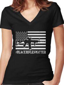 Black Rifles Matter Women's Fitted V-Neck T-Shirt