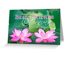 Best Friends Forever Gorgeous Pink Lotus Flower Pair Greeting Card