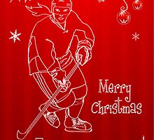 Hockey Christmas Card - Red Snowflake - Female by SaucyMitts