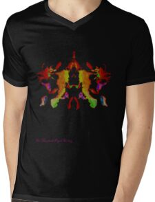 Ink Blot Fluro Red Mens V-Neck T-Shirt