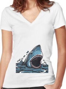 Shark Attack Women's Fitted V-Neck T-Shirt