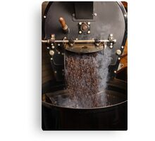 Coffee roaster pouring beans Canvas Print
