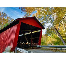 Red Covered Bridge and Giant Sycamore Photographic Print