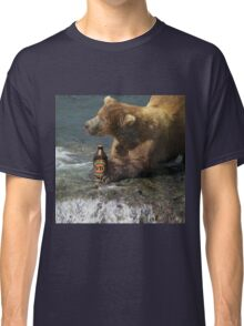 Bear catching beer in a river Classic T-Shirt